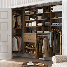 Dark Wood Reach in Closet with Shelving Closet Rods and Dresser Drawers
