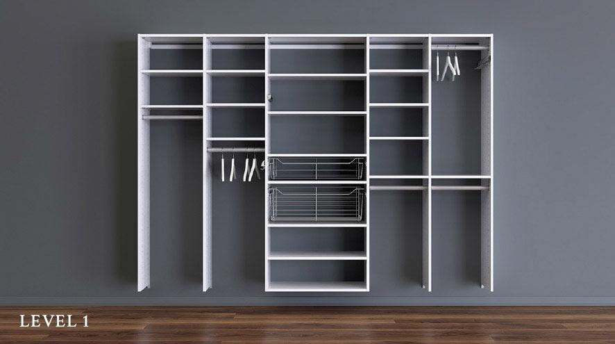 White Wall Mounted Reach in Closet with Shelving Closet Rods and Slide Out Metal Baskets