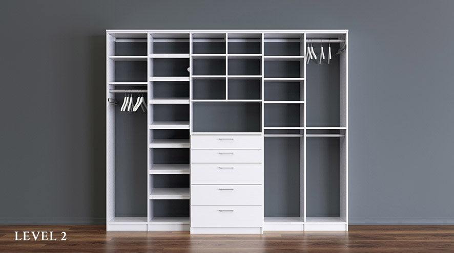 White Reach in Closet with Shelving Closet Rods and Dresser Drawers