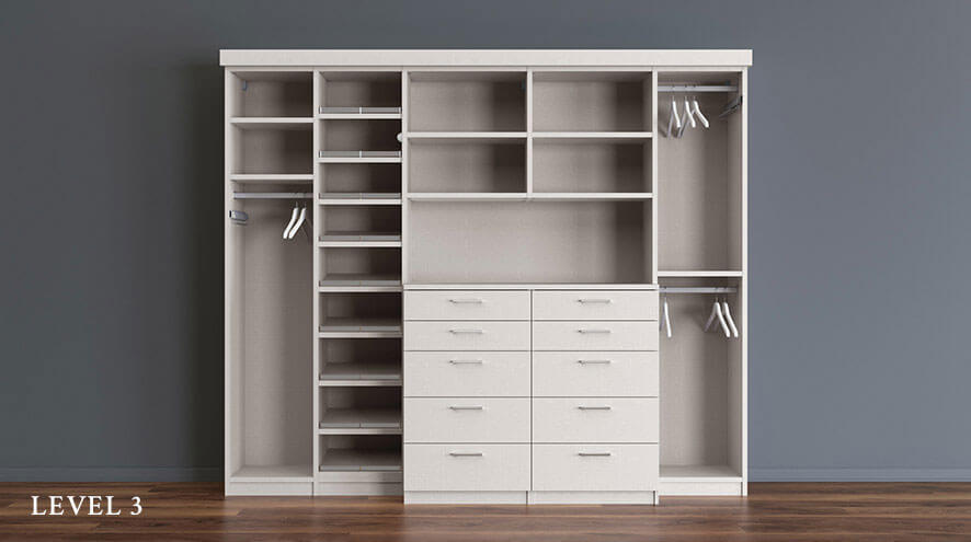 White Reach in Closet Level 3 With Shelving Closet Rods Dresser Drawers and White Backing Panels