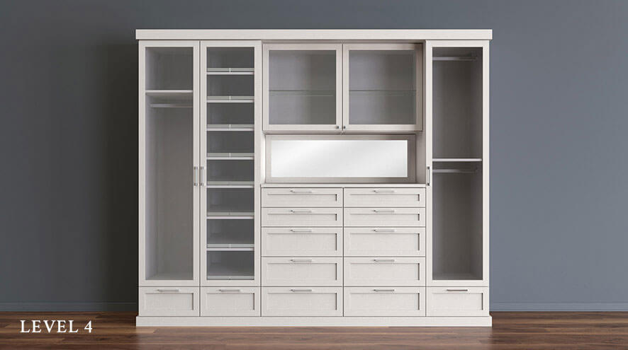 White Reach in Closet Level 4 with Shelving Shoe Racks Dresser Drawers Vanity Space and Glass Cabinet Doors