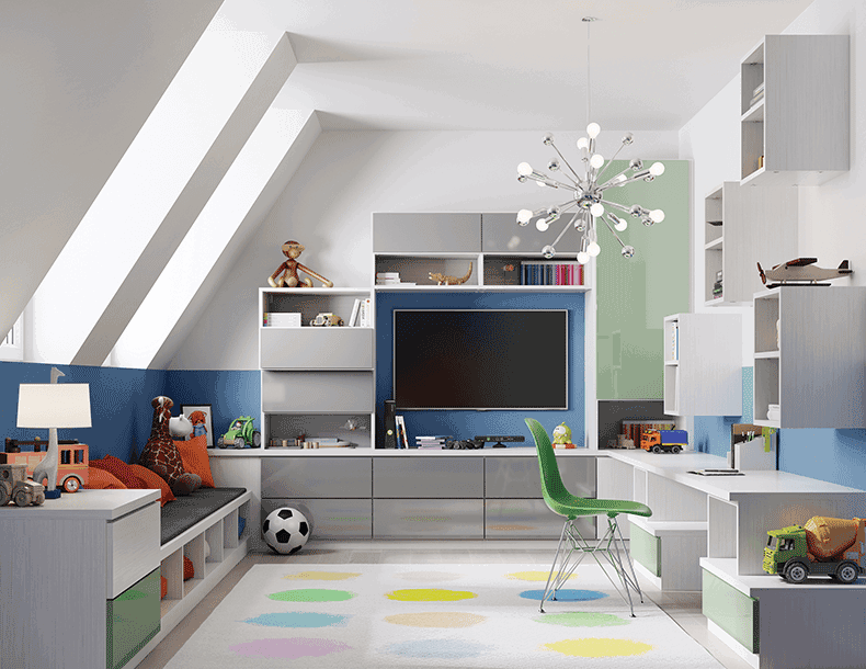 Colorful Play Room with White Shelving Media Center Desk and Bench Seating and High Gloss Grey Cabinet Doors