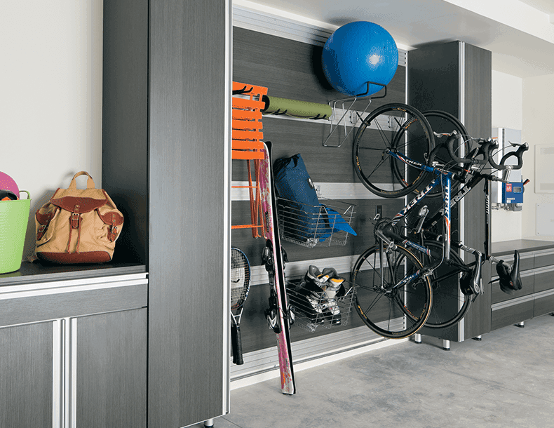 Dark Grey Garage Storage with Drawers Cabinets and Hanging Rack