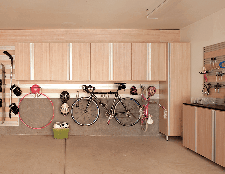 Light Wood Garage Storage with Cabinets Tool Rack and Hanging Racks