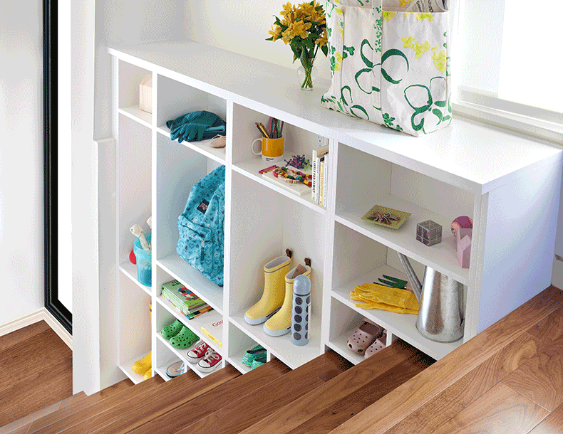 Tiered White Staircase Shelving