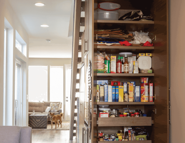 Dark Wood Understairs Pantry Storage with Shelving and Slide out Drawers