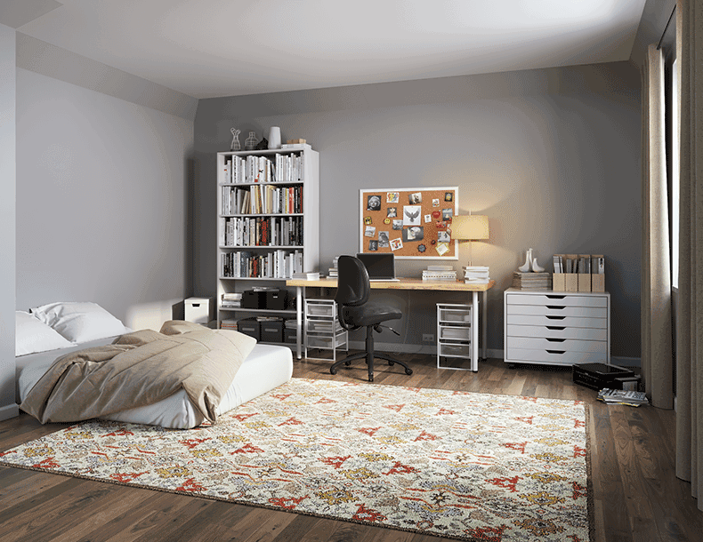 Bedroom Storage with White Shelving Dresser and Office Desk with Light Wood Top