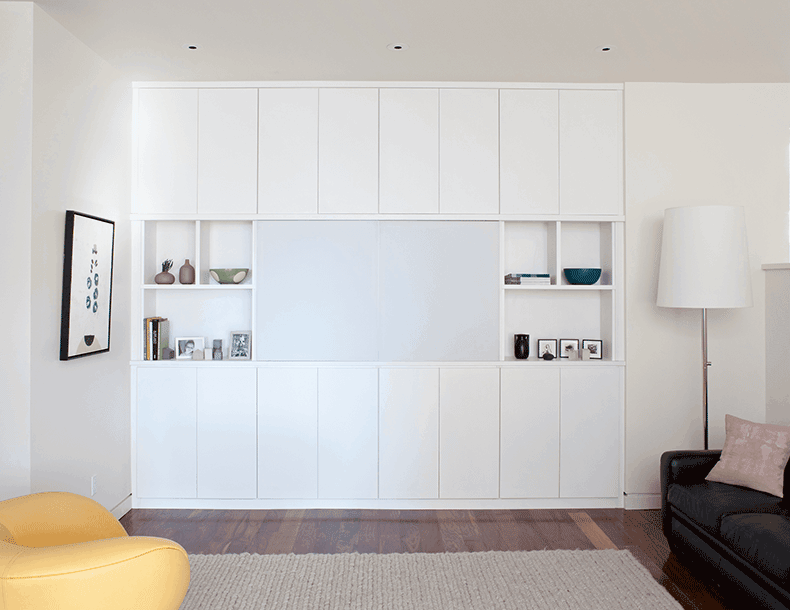 White Built in Media Center with Cabinets Shelves and Cabinet Doors