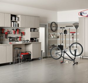 Light Grey Wood Grain Garage Storage Cabinets Shelving Work Space and Hanging Rack and TOol Rack