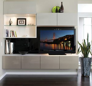 Wall Mounted Media Center with Lighted Display Shelving and Cabinets With High Gloss White and Grey Doors