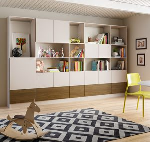 Family Room Storage with White Shelving Cabinets and Dark Wood Accent Panels