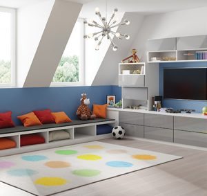 Colorful Play Room With Bench Seating and Media Center with White Shelving and Grey High Gloss Drawers