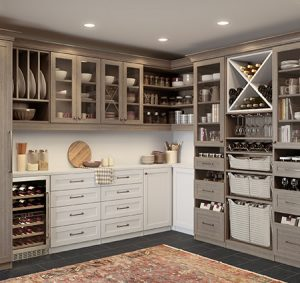 Dark Grey Pantry Storage Room with Shelving Drawers Wine Fridge Display Cabinets and White Backing and Accents