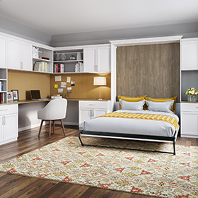 Office Space with White Shelving Cabinets and Storage Drawers Built in Murphy Bed and Built in Desk with Light Wood Top