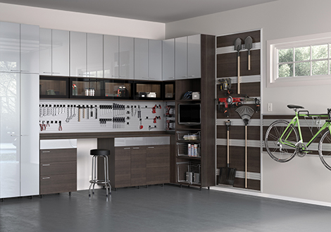 Dark Brown Garage Storage with Hanging and Tool Rack Drawers Work Space and High Gloss Grey Cabinets