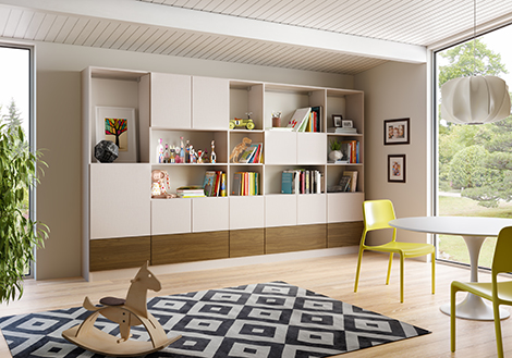Family Room Storage With White Shelving and Cabinets and Brown Wood Grain Panels