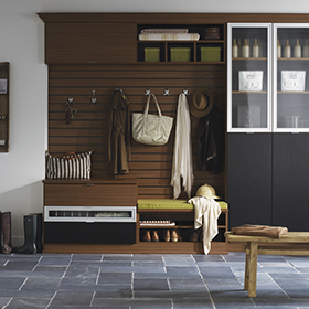 Dark Brown Entrance Way Storage with Cabinets Shelving Bench Seating Coat Hooks and Gloss and Solid Black Cabinet Doors