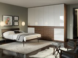Dark Wood Bedroom Wardrobe with Drawers and High Gloss White Cabinet Doors