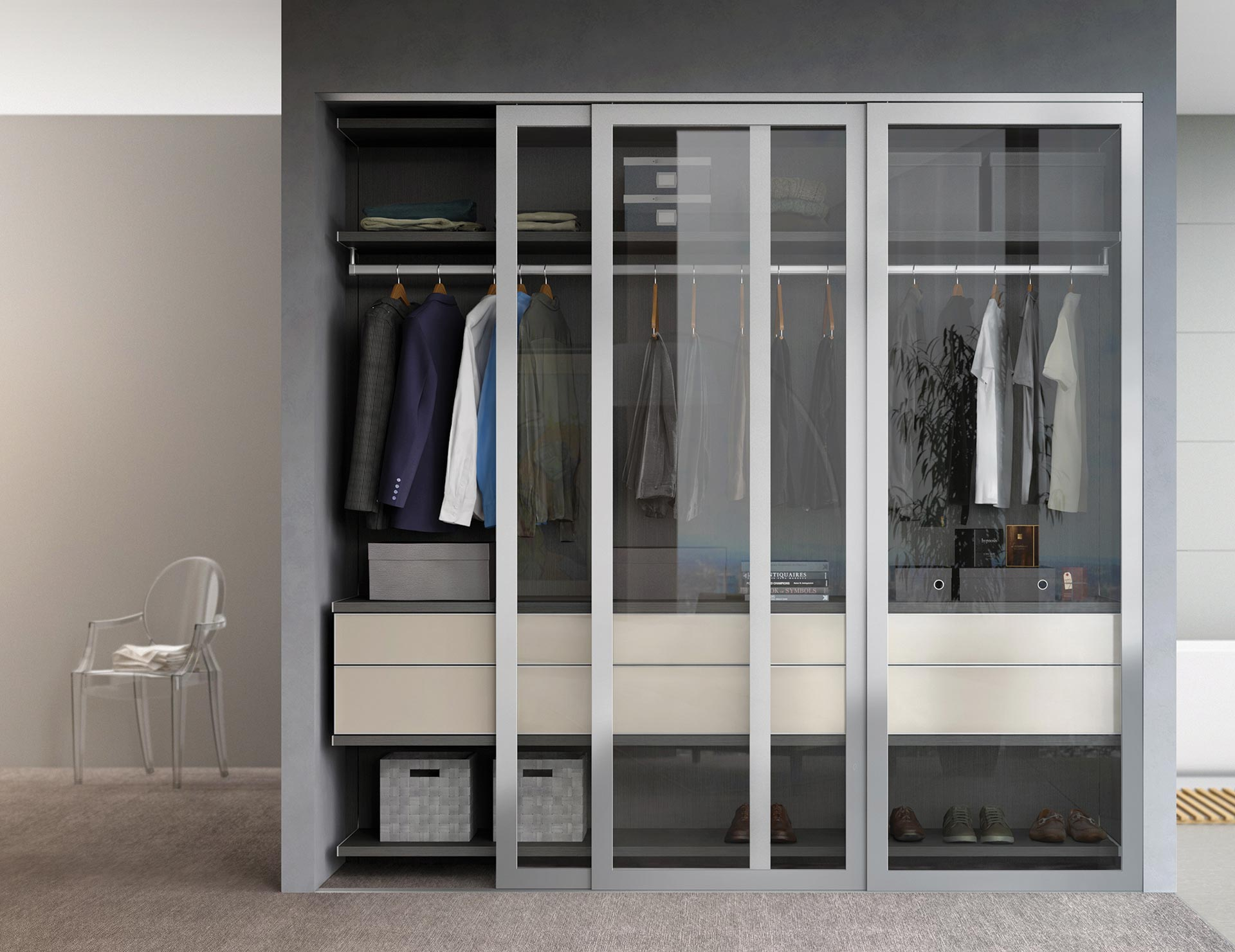 California Closets - Milano Reach-in Closet with Sliding Closet Doors