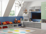 Colorful Play Room With Bench Seating Desk and Media Center with White Shelving Grey High Gloss Drawers and Lime Green Cabinet Doors