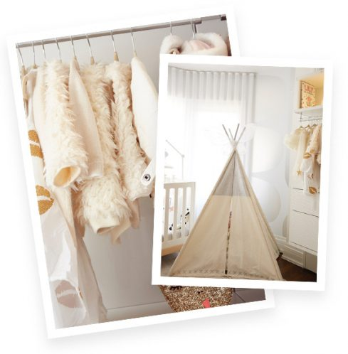 Walk in Closet White Hanging Coats and Childrens Teepee Tent