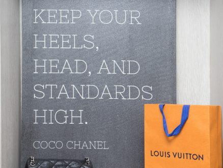 Close Up Image of Louis Vuitton Bag and Coco Chanel Wall Panel