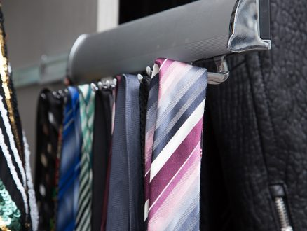 Close Up Image of Metal Tie Rack