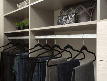 Jodie Parr Client Story Close UP Image Grey Shelving and Metal Closet Rod